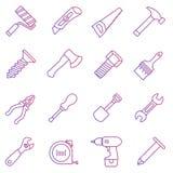 Linje symbolsuppsättning av arbetshjälpmedel Vektor Illustrationer