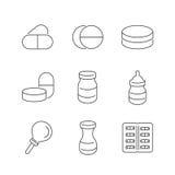 Linje symbolsuppsättning av den medicinska apotekaren Icons Royaltyfri Bild