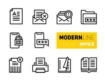 Linje symbolsuppsättning av kontorsmaterial stock illustrationer