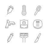 Linje symbolsuppsättning av symbolen för medicinsk apparat Arkivfoton