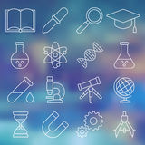 Linje symbolsuppsättning av vetenskapliga hjälpmedel Vektor Illustrationer