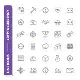 Linje symbolsuppsättning Cryptocurrency stock illustrationer
