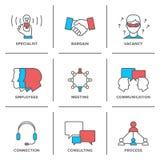 Linje symbolsuppsättning för affärsledning royaltyfri illustrationer