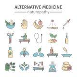 Linje symbolsuppsättning för alternativ medicin Naturmedicinvektortecken vektor illustrationer
