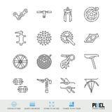 Linje symbolsuppsättning för cykelreservdelvektor Cykeln shoppar, underhåll och reparerar linjära symboler, Pictograms, tecken stock illustrationer