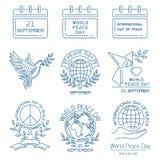 Linje symbolsuppsättning för dag för världsfred royaltyfri illustrationer