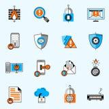 Linje symbolsuppsättning för datasäkerhet Arkivfoton