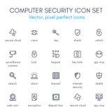 Linje symbolsuppsättning för datorsäkerhet Stock Illustrationer