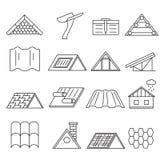 Linje symbolsuppsättning för konstruktion för begreppshustak tunn vektor Fotografering för Bildbyråer