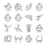 Linje symbolsuppsättning för kosmetisk kirurgi Inklusive symbolerna som skrynklan, att åldras, botox, buk, Cellulite och mer Arkivbilder