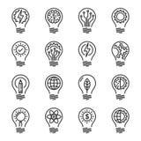 Linje symbolsuppsättning för kunskap för idéintelligenskreativitet tunn edita stock illustrationer
