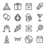 Linje symbolsuppsättning för lyckligt nytt år Royaltyfri Foto