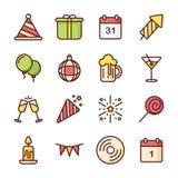 Linje symbolsuppsättning för lyckligt nytt år Arkivbild