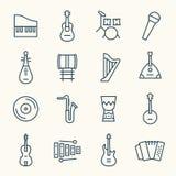 Linje symbolsuppsättning för musikinstrument stock illustrationer