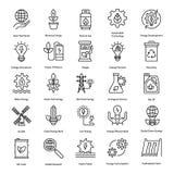 Linje symbolsuppsättning för ren energi stock illustrationer