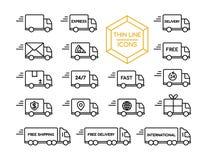 Linje symbolsuppsättning för sändningsservice för leveranslastbil tunn Arkivfoton