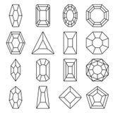 Linje symbolsuppsättning för sexton juvlar royaltyfri illustrationer