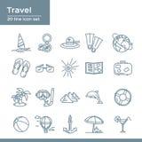 Linje symbolsuppsättning för sommarlopp 20 Vektorsymbolsdiagram för strandsemester: kompass segelbåt, hatt, flipper, jord, flipmi Royaltyfri Bild