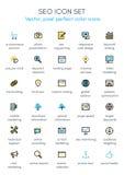 Linje symbolsuppsättning för tema för sökandemotoroptimization Vektor Illustrationer