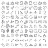 linje symbolsuppsättning för 100 vektor Royaltyfri Foto
