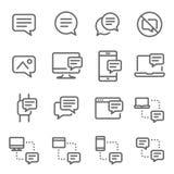 Linje symbolsuppsättning för vektor för bubblapratstundmeddelande Innehåller sådana symboler som konversation, SMS, meddelandet,  royaltyfri illustrationer