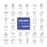 Linje symbolsuppsättning högskola royaltyfri illustrationer