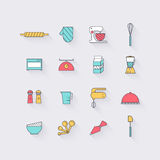 Linje symbolsuppsättning i plan design Beståndsdelar av den matlagningFoods och satsen Royaltyfri Foto