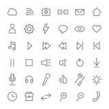 Linje symbolsuppsättning Massmedia musik, grundläggande inställningar stock illustrationer