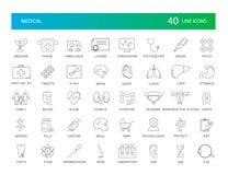 Linje symbolsuppsättning medicinsk packe vektor illustrationer