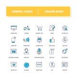 Linje symbolsuppsättning Shoppa direktanslutet vektor illustrationer