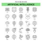 Linje symbolsuppsättning - streckad stil för konstgjord intelligens för översikt 25 stock illustrationer