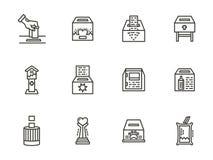 Linje symbolsuppsättning för välgörenhetbeståndsdelsvart Royaltyfri Foto
