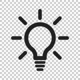 Linje symbolsvektor för ljus kula Elektrisk lampa i plan stil Idé s royaltyfri illustrationer