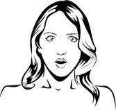 Linje teckning av en förvånad woman1 Arkivbild
