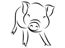 Linje teckning av ett gulligt svin, år av linjär stil för svin och hand drog vektorillustrationer, samling för översikt för tecke Arkivfoto