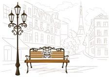 Linje teckning av Paris, en bänk och en lykta royaltyfri illustrationer