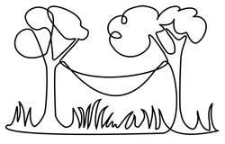 Linje teckning för picknickställe ett Royaltyfria Foton