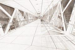 Linje teckningstolkning av en gångbana Arkivbilder