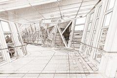 Linje teckningstolkning av en gångbana Royaltyfri Fotografi