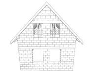 Linje teckningsvektor för Bricked huskonstruktion stock illustrationer