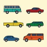 Linje uppsättning för bilar för stilfärgvektor royaltyfri illustrationer