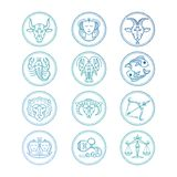 Linje uppsättning för vektor för symbolszodiaktecken Färgrika horoskopemblem royaltyfri illustrationer