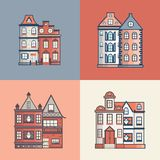 Linje uppsättning för vektortecknad filmlägenhet av stadshus vektor illustrationer