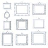 Linje uppsättning för symbol för mall för symbol för Art Frame Photo Picture Painting garneringteckning på Retro stilfull svart b Royaltyfri Fotografi