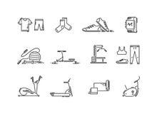 Linje utrustning för symbolssportidrottshall Cardio, kondition-, yoga- och utbildningsapparatur stock illustrationer