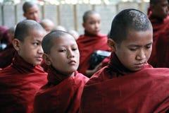 linje vänta för monksmyanmar novis Royaltyfri Foto