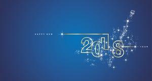 Linje vektor för nytt år 2018 för blått för vit för designfyrverkeri guld- Arkivbilder
