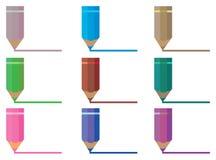 Linje vektorillustration för färgblyertspennateckning Arkivbilder