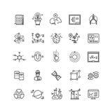 Linje vektorsymboler för kemisk forskning för innovation för vetenskapslabb tunn stock illustrationer