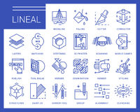 Linje vektorsymboler i en modern stil Royaltyfri Bild